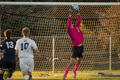 Jacobs' Ethan Pickering (1) makes a leaping save  Tuesday, Oct. 18th, 2016 in the Class 3A Regional boys Soccer playoffs held at Crystal Lake South High School in Crystal Lake.Jacobs advances beating Cary Grove by the score of 2-0. KKoontz-for Shaw Media
