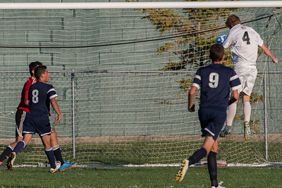 Jacobs' Patrick Murphy (4) scores a goal off a header Tuesday, Oct. 18th, 2016 in the Class 3A Regional boys Soccer playoffs held at Crystal Lake South High School in Crystal Lake.Jacobs advances beating Cary Grove by the score of 2-0. KKoontz-for Shaw Media
