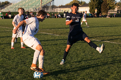 Jacobs' Gabriel Swarthout (2) shows some fancy footwork in front of Cary Grove defender Luis Antonio Lemus (10) Tuesday, Oct. 18th, 2016 in the Class 3A Regional boys Soccer playoffs held at Crystal Lake South High School in Crystal Lake.Jacobs advances beating Cary Grove by the score of 2-0. KKoontz-for Shaw Media