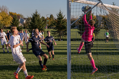 Jacobs' Ethan Pickering (1) blocks a shot  on goal Tuesday, Oct. 18th, 2016 in the Class 3A Regional boys Soccer playoffs held at Crystal Lake South High School in Crystal Lake.Jacobs advances beating Cary Grove by the score of 2-0. KKoontz-for Shaw Media