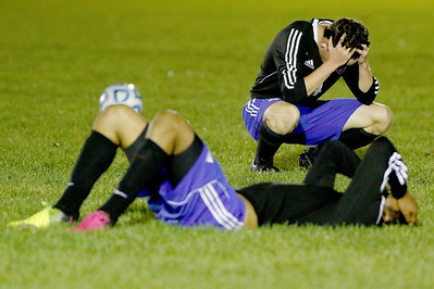 Sarah Nader - snader@shawmedia.com Burlington Central players react after losing Wednesday's Class 2A Burlington Central regional semifinal against Hampshire Oct. 19, 2016. Hampshire won in overtime, 3-2.