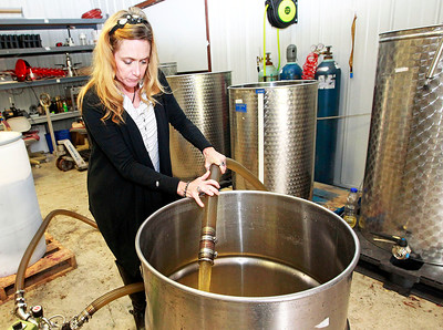 Candace H. Johnson-For Shaw Media Deb Trombino uses a wine pump to rack the wine through the aging process at the Vigneto del Bino Vineyard & Winery in Antioch.
