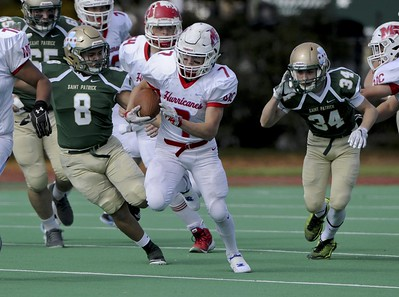 Matt Marton - For Shaw Media Marian Central running back Brian Niemaszek (7) runs in the first half of their game against St. Patrick at Hanson Stadium on Saturday, Oct. 22, 2016, in Chicago, Ill.