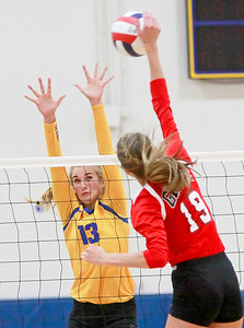 Candace H. Johnson-For Shaw Media Warren's Natalie McNally looks to block an attack by Grant's Hannah Johnson in the third game at Warren Township High School in Gurnee.