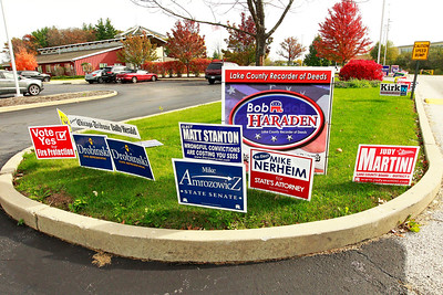Candace H. Johnson-For Shaw Media Signs line the driveway during Early Voting at the Antioch Township Hall in Lake Villa.