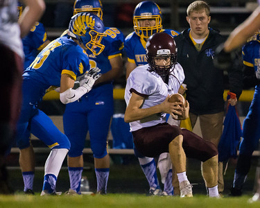 Marengo's Jake Valle (3) catches a pass in front of Johnsburg defender Brody Frazier (23) Saturday, Oct. 29th, 2016 at Johnsburg High School in Johnsburg. Johnsburg went on to win the first round playoff game 56-14.  KKoontz- for Shaw Media