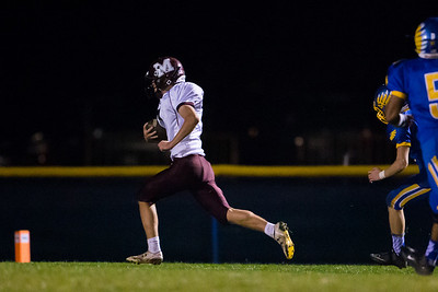 Marengo's Aaron Shepard (7) returns a kickoff for a touchdown Saturday, Oct. 29th, 2016 at Johnsburg High School in Johnsburg. Johnsburg went on to win the first round playoff game 56-14.  KKoontz- for Shaw Media