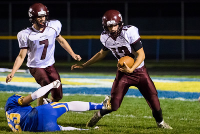 Marengo's Keenan Deboer (13) intercepts a pass intended for Johnsburg receiver Brody Frazier (23) Saturday, Oct. 29th, 2016 at Johnsburg High School in Johnsburg. Johnsburg went on to win the first round playoff game 56-14.  KKoontz- for Shaw Media