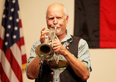 Candace H. Johnson-For Shaw Media Glen Sorgots, of Wheaton with the band, Phenix, plays traditional German music on his trumpet during Oktoberfest at the American Aid Society of German Descendants in Lake Villa.