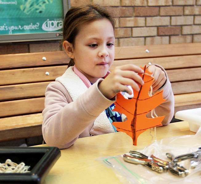 Candace H. Johnson-For Shaw Media Selene Quimby, 9, of Algonquin makes a foam oak door knob craft during the Oaktober Celebration at the Round Lake Area Park District's Aquatic Center and Nature Museum in Round Lake. Selene is a volunteer with the Girl Scouts of Greater Chicago.