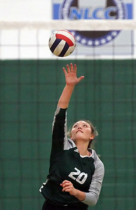 Candace H. Johnson-For Shaw Media Grayslake Central's Lauren LaBeck serves against Grant in the first set at Grayslake Central High School. Grant won, (25-22, 26-28, 25-23)