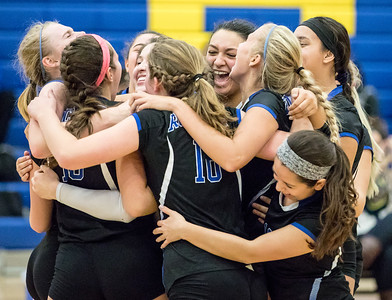 Ken Koontz - For Shaw Media Burlington Central High School volleyball players celebrate the victory over Johnsburg Thursday, October 19, 2017 in Johnsburg. With the win, Burlington Central clinches the KRC Championship.