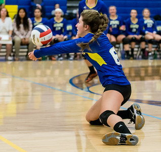 Ken Koontz - For Shaw Media Johnsburg High School senior Alex Arber digs out the ball Thursday, October 19, 2017 against Burlington Central in Johnsburg. Burlington Central went on to win in three sets and clinch the KRC Championship.