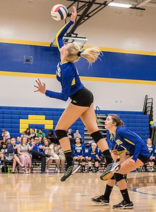 Ken Koontz - For Shaw Media Johnsburg High School senior Abigail Wemple spikes the ball against Burlington Central Thursday, October 19, 2017 in Johnsburg. Burlington Central went on to win in three sets and clinch the KRC Championship.