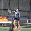 Kaneland's Anna Carlson competes with doubles partner Erin McMullen (not pictured) in the Rochelle sectional on Oct. 16.