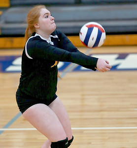 Joe Shuman - for Shaw Media Harvard's Marissa Creviston with the bump against Marengo during the Class 3A Woodstock girls volleyball regional at Woodstock High School, Monday, Oct. 23, 2017. Marengo won, 2-0.