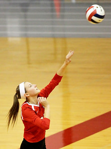 Candace H. Johnson-For Shaw Media Grant's Kayla Dabrowski serves against Lakes in the second set during the Class 4A regional semifinal at Grant Community High School in Fox Lake. Lakes defeated Grant 25-11 in set 3 to advance to the championship match on Thursday at 6:00pm