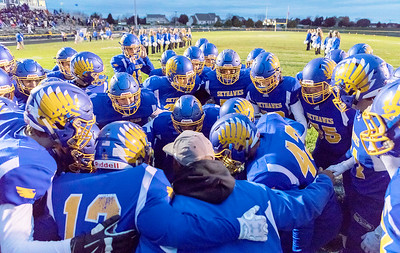 The Johnsburg Skyhawks get ready for the first game of the Class 4A playoffs against Chicago Urban Prep / Englewood Saturday, October 28, 2017 in Johnsburg. Johnsburg wins big 47-0 and moves to 10-0 on the year. KKoontz – For Shaw Media