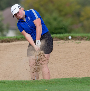 Burlington Central's Sydney Killeen hits from the sand during the Class 2A Girls Golf Regionals Wednesday, October 3, 2018 at Turnberry Country Club in Lakewood. Kileen finished the round with a 95. KKoontz – For Shaw Media