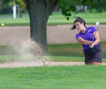 Hampshire High School's Gianna Farinella hits from the sand during the Class 2A Girls Golf Regionals Wednesday, October 3, 2018 at Turnberry Country Club in Lakewood.  KKoontz – For Shaw Media