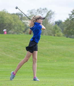 Geneva High School Freshman Kaylin Johnson drives the ball during the Class 2A Girls Golf Regionals Wednesday, October 3, 2018 at Turnberry Country Club in Lakewood. Johnson finished with a 91. KKoontz – For Shaw Media