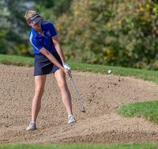 Burlington Central's Brianna Benjamin hits from the sand during the Class 2A Girls Golf Regionals Wednesday, October 3, 2018 at Turnberry Country Club in Lakewood. Benjamin finished the round with a 92. KKoontz – For Shaw Media