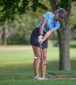 Dundee Crown High School's Alyssa Trebat hits from the sand during the Class 2A Girls Golf Regionals Wednesday, October 3, 2018 at Turnberry Country Club in Lakewood. Trebat finished the round with a 92. KKoontz – For Shaw Media