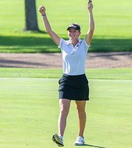 Saint Charles North's Megan Furtney celebrates finishing a difficult 11th hole during the Class 2A Girls Golf Regionals Wednesday, October 3, 2018 at Turnberry Country Club in Lakewood. Furtney finished in first place with an even par 71. KKoontz – For Shaw Media