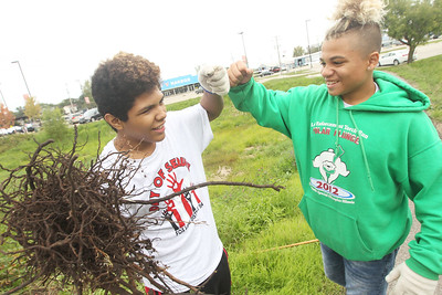 Candace H. Johnson-For Shaw Media Stanton Middle School's Lance Gallagher gets a fist bump from Cameron Lattimore, both 13, of Fox Lake after they worked together to pull out a stray ball of roots from the ground outside of Grant Community High School in Fox Lake during the Fox Lake Grade School District 114's 4th Annual Day of Service. (9/28/18)