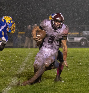 Marengo's Finn Schirmer twist and turns breaking tackles Friday, October 5, 2018 in Johnsburg. Marengo takes the conference victory by the score of 16-14. KKoontz – For Shaw Media