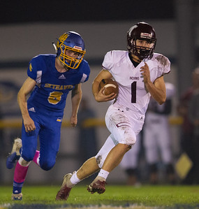 Marengo's Cole Davis heads up-field against Johnsburg Friday, October 5, 2018 in Johnsburg. Marengo takes the conference victory by the score of 16-14. KKoontz – For Shaw Media