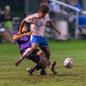 Dundee-Crown's Kevin Martinez (Right) collides with Hampshire's Andrew Pena (Left) Tuesday, October 9, 2018 in Hampshire. Dundee-Crown would take the win in overtime 2-1. KKoontz – For Shaw Media