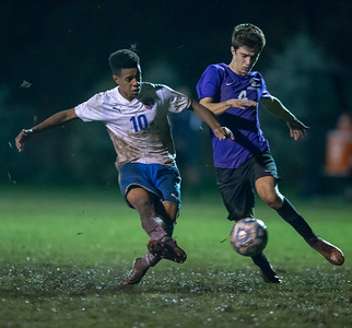 Dundee-Crown's Roland Dearborn ties the game against Hampshire Tuesday, October 9, 2018 in Hampshire. Dearborn would score both goals in the 2-1 overtime victory. KKoontz- For Shaw Media