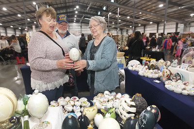 Candace H. Johnson-For Shaw Media Liz and Ken Hoge, of McHenry talk with Anita Remus, of Grayslake, with Egg Designs by Anita, about buying one of the decorative eggs she has made using real eggs during the Art & Craft Show at the Lake County Fairgrounds in Grayslake. The event was hosted by Step By Step Promotions. The next craft show will be held at the Lake County Fairgrounds on Thanksgiving weekend, Friday through Sunday, November 23rd-25th.(10/7/18)