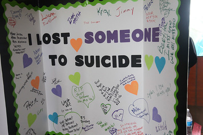 "Candace H. Johnson-For Shaw Media An ""I Lost Someone to Suicide"" board was on display for people to sign in honor of their loved ones during the Lake County Suicide Prevention Task Force 6th Annual walk for Suicide Prevention and Awareness at Hastings Lake Forest Preserve in Lake Villa. (10/6/18)"
