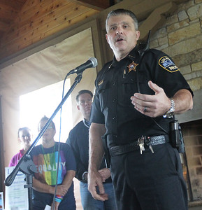 Candace H. Johnson-For Shaw Media Craig Somerville, chief of police for the Lake Villa Police Dept., talks about a police officer he knows who overcame his struggles before the Lake County Suicide Prevention Task Force 6th Annual walk for Suicide Prevention and Awareness at Hastings Lake Forest Preserve in Lake Villa. (10/6/18)