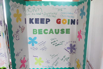 "Candace H. Johnson-For Shaw Media An ""I Keep Going Because"" board was on display for people to sign during the Lake County Suicide Prevention Task Force 6th Annual walk for Suicide Prevention and Awareness at Hastings Lake Forest Preserve in Lake Villa. (10/6/18)"