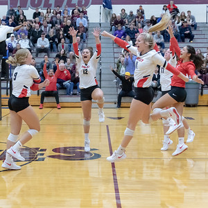 Huntley's (L-R) Loren Alberts, Taylor Jakubowski, Josie Schmitendorf, Emma Konie and Sarah Zayas celebrate after a point against Prairie Ridge Thursday, October 11, 2018 in Crystal Lake. Huntley went on to win the match in two straight sets, 25-22 and 25-17. KKoontz – For Shaw Media
