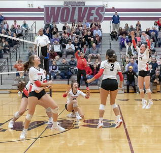 Huntley celebrates a big victory over Prairie Ridge Thursday, October 11, 2018 in Crystal Lake. Huntley went on to win the match in two straight sets, 25-22 and 25-17. KKoontz – For Shaw Media