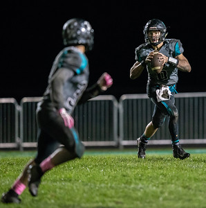 Woodstock North quarterback Ryan Zinnen drops back for a pass against Woodstock Friday, October 12, 2018 in Woodstock. Woodstock North wins a close one 40-37. KKoontz – For Shaw Media