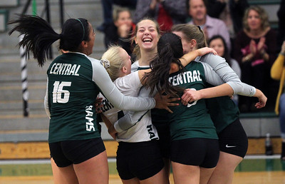 Candace H. Johnson-For Shaw Media Grayslake Central's Amber Moser (center) celebrates with her teammates her point against Antioch to win the game at Grayslake Central High School in Grayslake. Grayslake Central won 25-22, 25-20. (10/16/18)