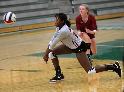 Candace H. Johnson-For Shaw Media Antioch's Ayanna Tommy gets down low to receive a serve by Grayslake Central in the second set at Grayslake Central High School in Grayslake. Grayslake Central won 25-22, 25-20. (10/16/18)