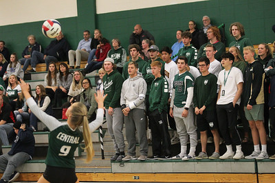 Candace H. Johnson-For Shaw Media Grayslake Central superfans watch Maya Schnitzler serve against Antioch in the first set at Grayslake Central High School in Grayslake. Grayslake Central won 25-22, 25-20. (10/16/18)