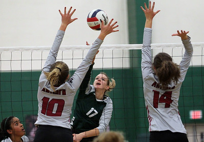 Candace H. Johnson-For Shaw Media Antioch's Grace Weber and Lexington McKillips try to block a shot by Grayslake Central's Emily Friday in the second set at Grayslake Central High School in Grayslake. Grayslake Central won 25-22, 25-20. (10/16/18)