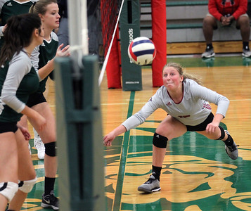 Candace H. Johnson-For Shaw Media Antioch's Maiah Moll looks to get down low to save the ball near the net against Grayslake Central in the second set at Grayslake Central High School in Grayslake. Grayslake Central won 25-22, 25-20. (10/16/18)