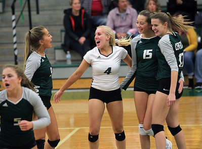 Candace H. Johnson-For Shaw Media Grayslake Central's Abigail Marassa (#4) celebrates with her teammates a point against Antioch in the second set at Grayslake Central High School in Grayslake. Grayslake Central won 25-22, 25-20. (10/16/18)
