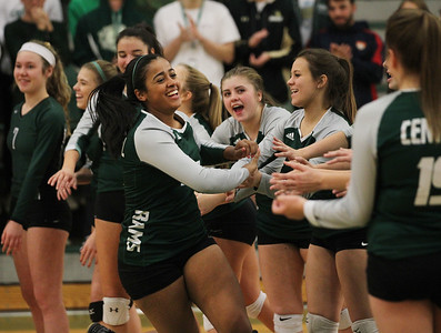 Candace H. Johnson-For Shaw Media Grayslake Central's Elisabeth Koshy greets her teammates before the start of their volleyball game against Antioch during Senior Night at Grayslake Central High School in Grayslake. Grayslake Central won 25-22, 25-20. (10/16/18)