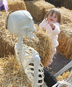 Candace H. Johnson-For Shaw Media Isa Schaefer, 2, of Lindenhurst points out a plastic skeleton in the hay maze during the Haunted Trail & More Family Fall Festival at the Lindenhurst Park District's Lippert Community Center in Lindenhurst. (10/13/18)