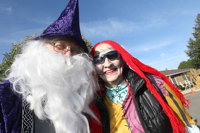 Don and Pam Pacholczak, of Antioch dress up for Halloween as they volunteer to help out during the Haunted Trail & More Family Fall Festival at the Lindenhurst Park District's Lippert Community Center in Lindenhurst. The Pacholczak's have been married for forty years and have volunteered for this event for fifteen years.(10/13/18)