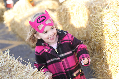 Emma Cockrum, 3, of Wildwood runs through the hay maze during the Haunted Trail & More Family Fall Festival at the Lindenhurst Park District's Lippert Community Center in Lindenhurst. (10/13/18)
